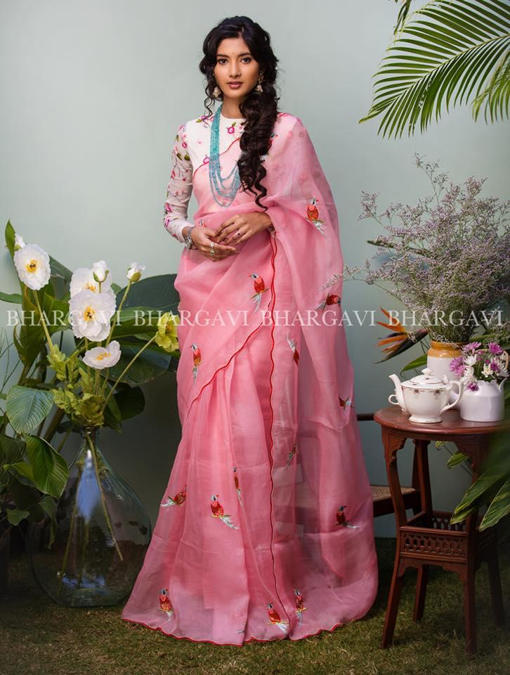 light pink organza saree from bhargavi kunam