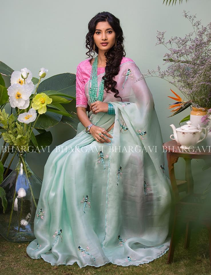 pastel colour organza saree from bhargavi kunam