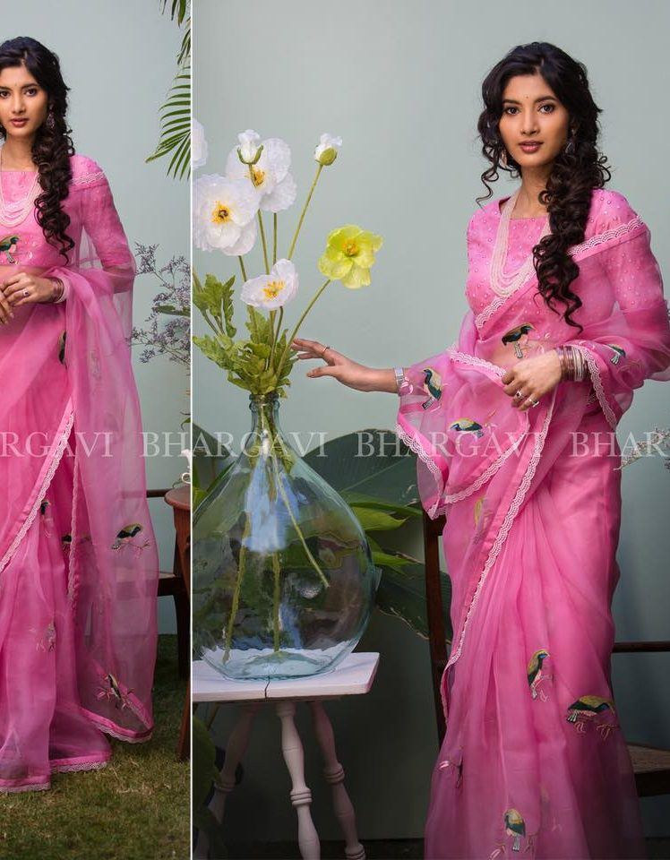 pink organza with peacock embroiderey from Bhargavi Kunam