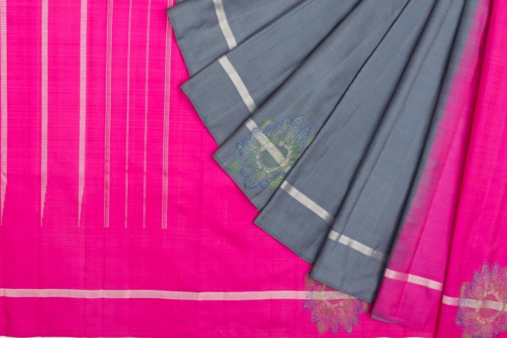 Kanchipuram half and half gray silk saree from kankatala