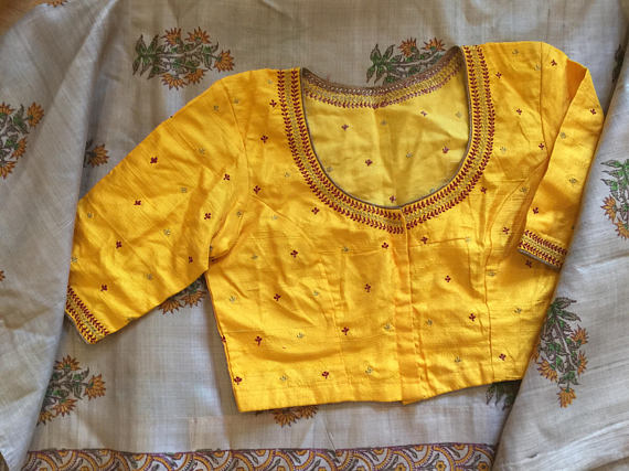 mustard yellow raw silk embroidered blouse from thefareaststudio