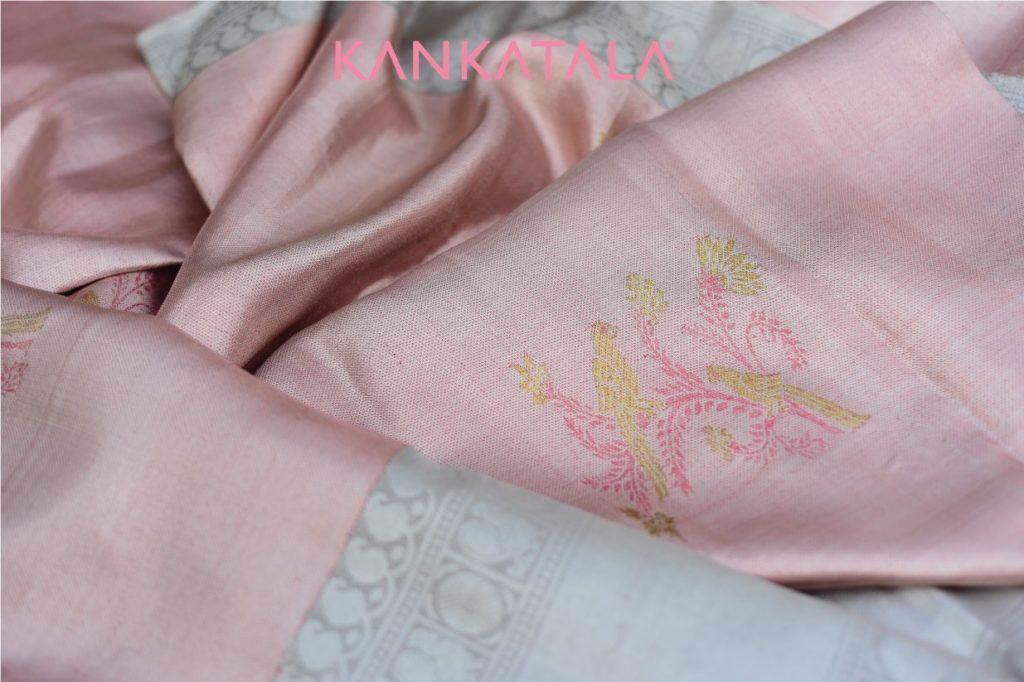 onion pink pastel kanchipuram silk saree from kankatala