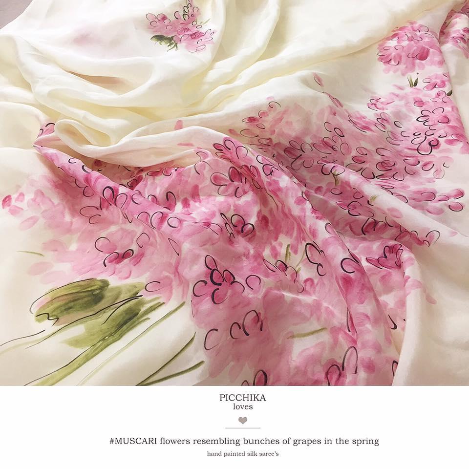 blush pink muscari flowers on silk organza saree from picchika