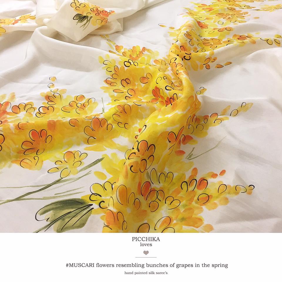 lemon muscari flowers on silk organza saree from picchika