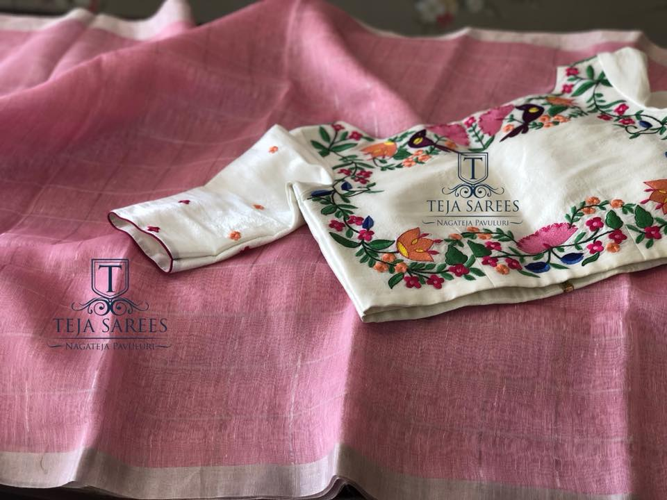 onion pink linen saree with designer blouse from teja sarees
