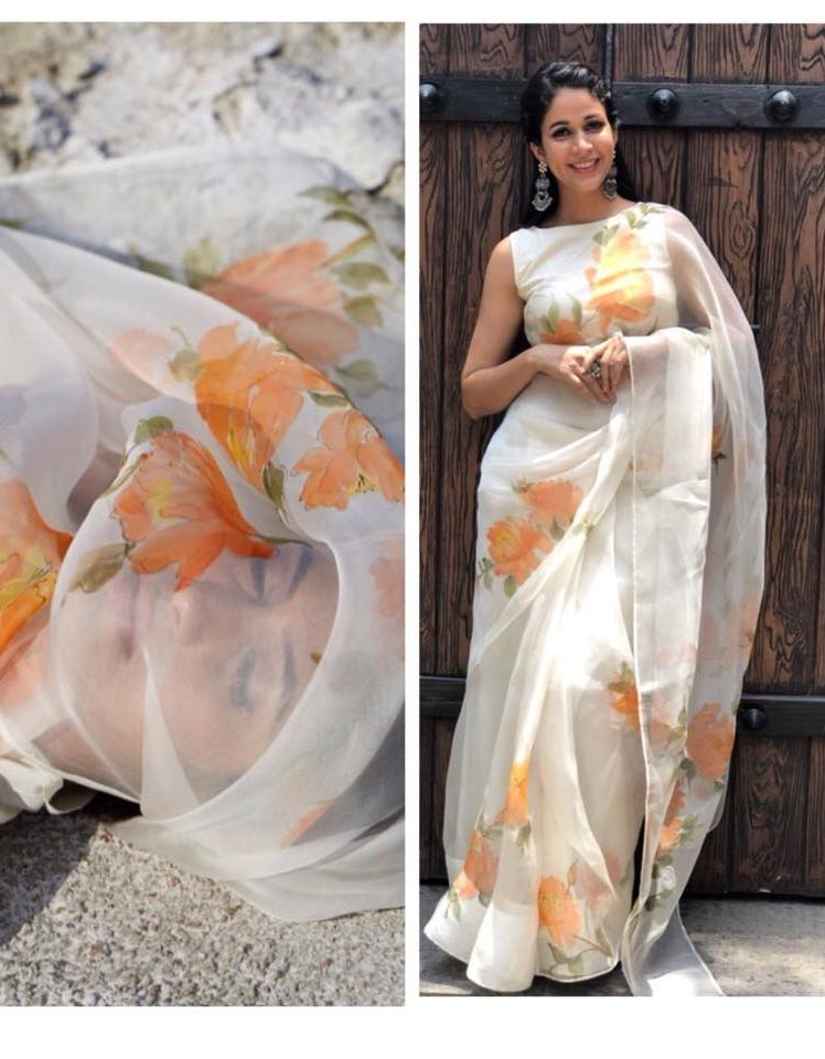 peonies on silk organza saree from picchika