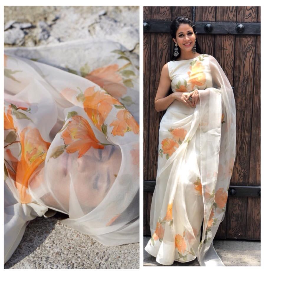 peonies on silk organza saree from picchika