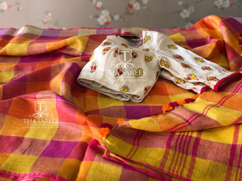 red checks linen saree with designer blouse from teja sarees