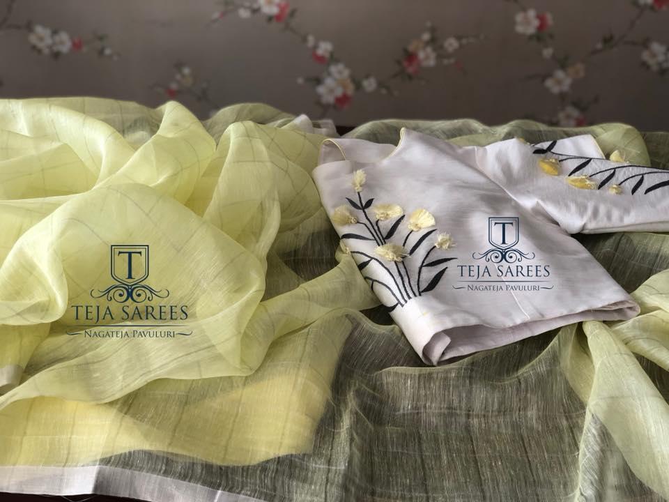 silver checks linen saree with designer blouse from teja sarees