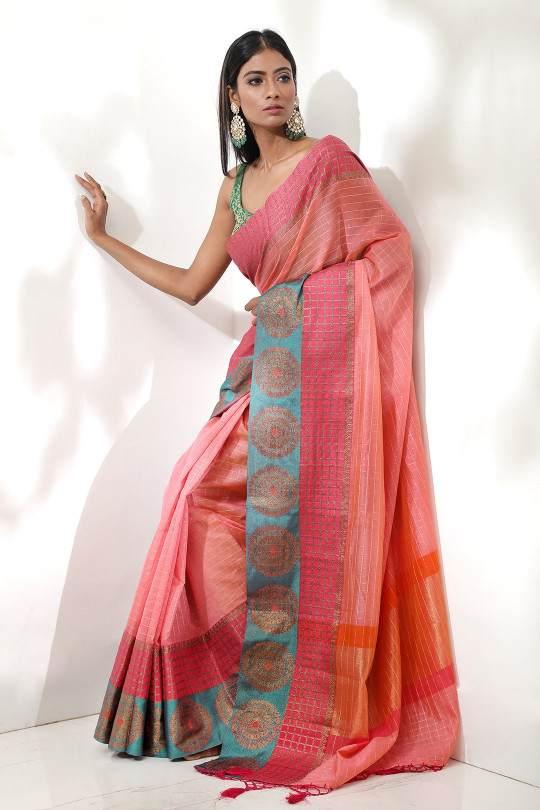 pink kora checks cotton saree from beautitude