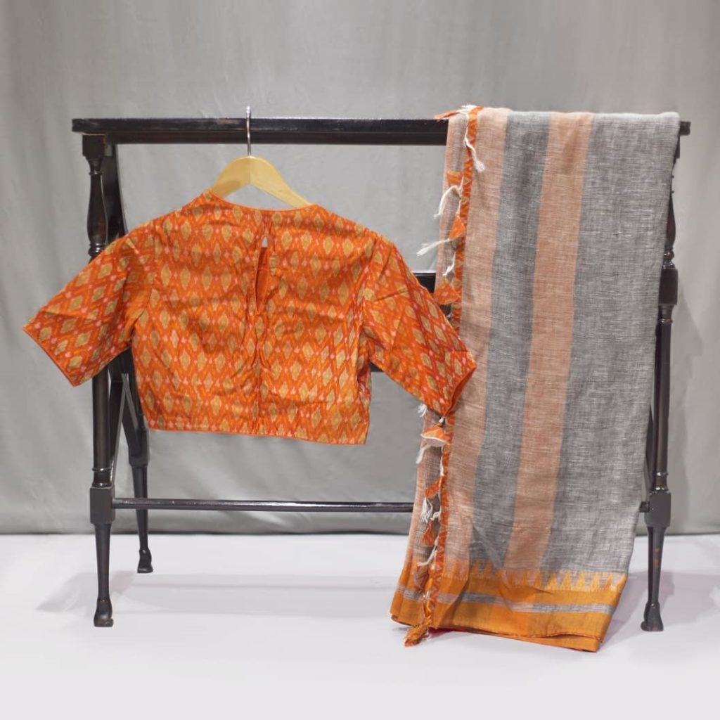 linen sarees with readymade blouses from tulsi silks