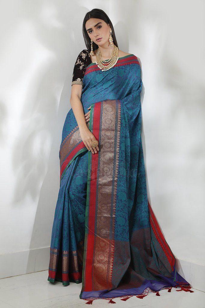 blue kora saree muslin saree with checks from beautitude