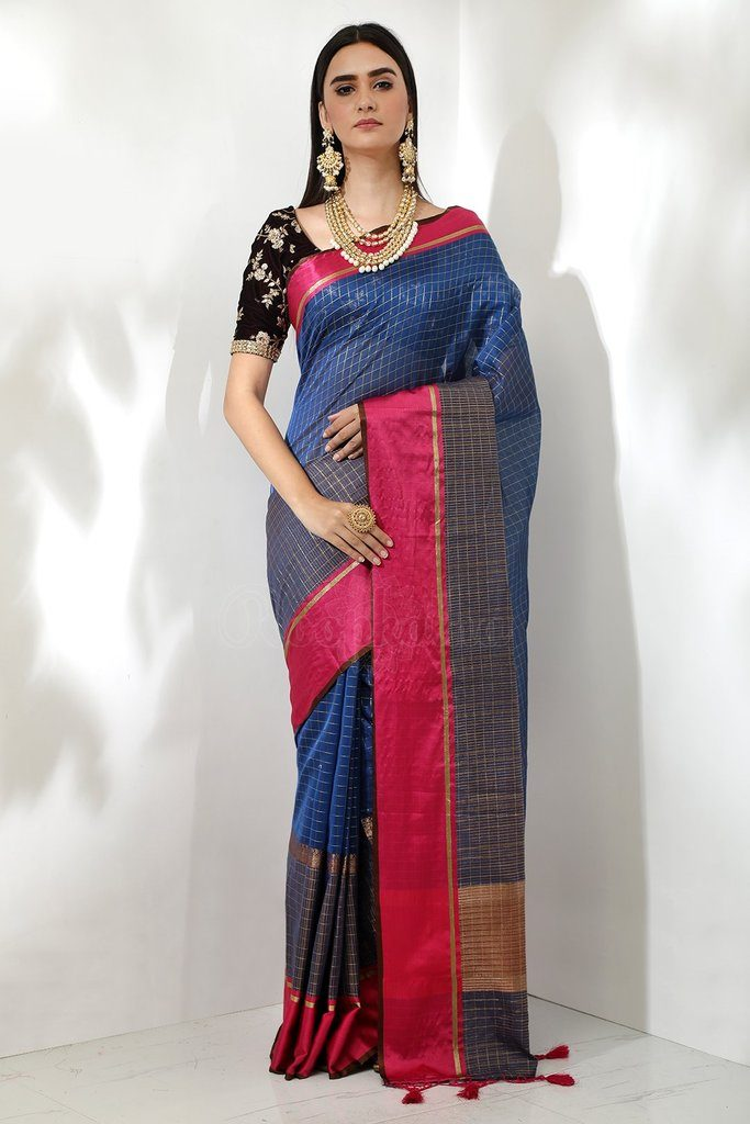 blue kota saree checks cotton saree from beautitude