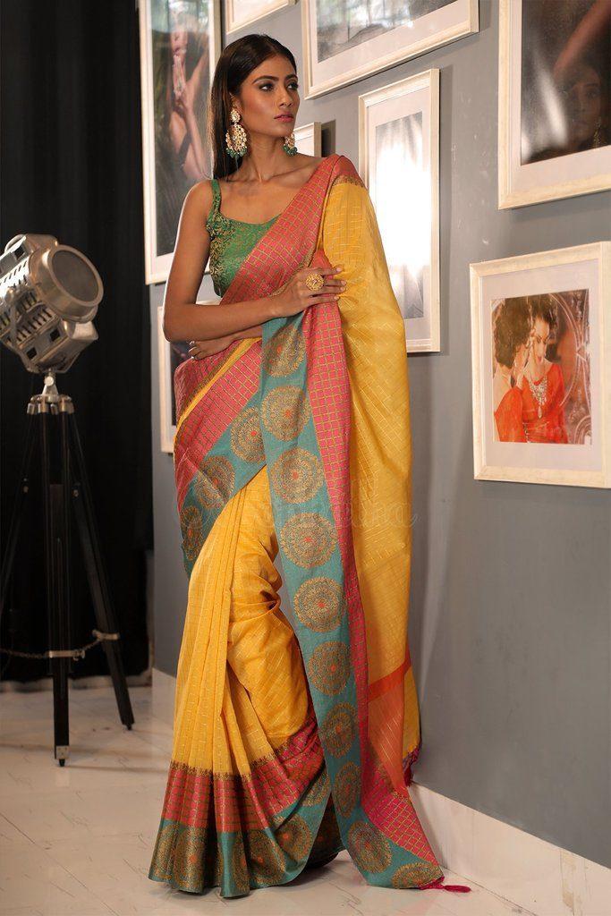 yellow kora saree checks cotton saree from beautitude