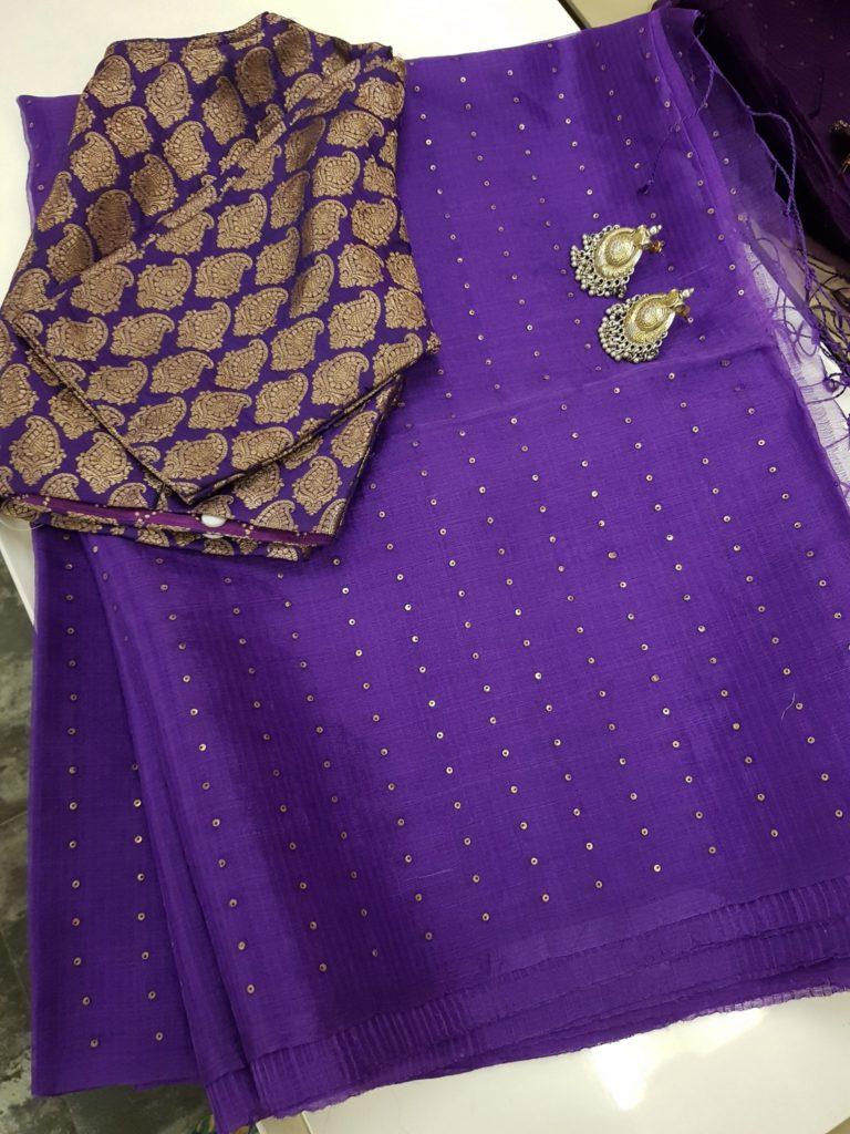 brinjal purple woven sequins organza saree from aavaranaa